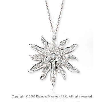 14k White Gold Sunburst Bezel Prong 1/2  Carat Diamond Necklace