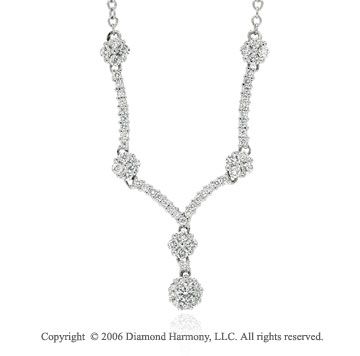 14k White Gold Prong Y Shaped 0.70  Carat Diamond Necklace