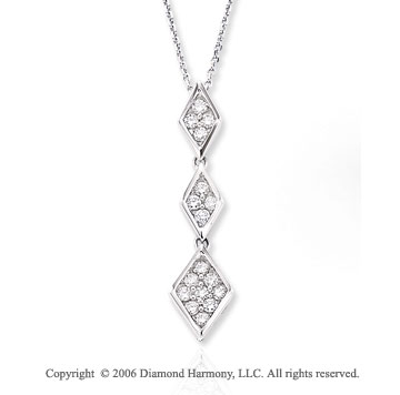 14k White Gold Triple Prong 1/3 Carat Diamond Necklace