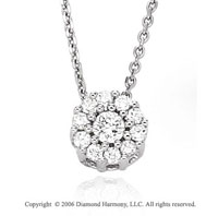 14k White Gold Floral Prong 1/4 Carat Diamond Necklace