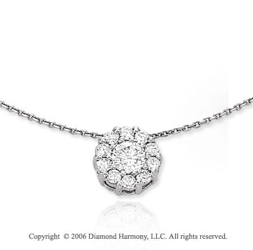 14k White Gold Floral Prong 1/2 Carat Diamond Necklace