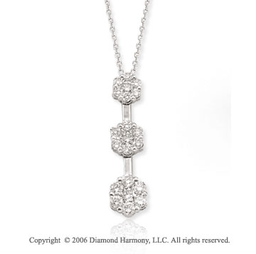 14k White Gold Floral Stems 3/4 Carat Diamond Necklace