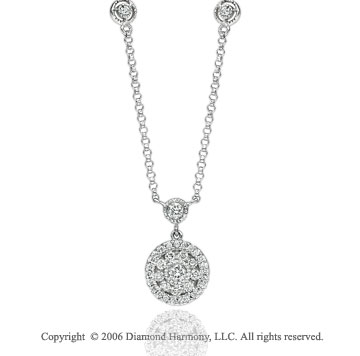 14k White Gold Floral Circle 0.40  Carat Diamond Necklace