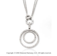 14k White Gold Double Circle 0.80  Carat Diamond Necklace
