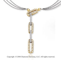 14k Two Tone Gold Links Lariat 1/2  Carat Diamond Necklace