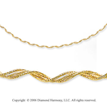 14k Yellow Gold Three Strand 4mm Mirror Spring Necklace
