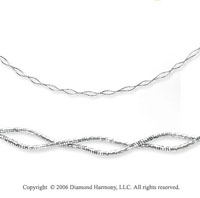 14k White Gold Double Twist 5mm Mirror Spring Necklace
