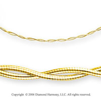 14k Yellow Gold 4mm Fancy Omega Lobster Lock Necklace