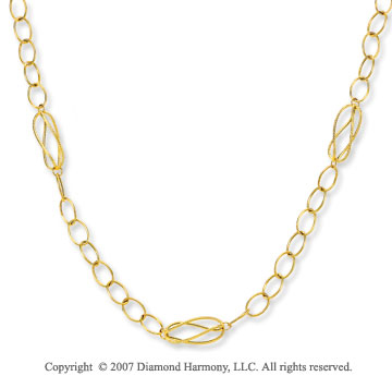 14k Yellow Gold Oval Link Double Lasso Necklace