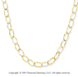 14k Yellow Gold Hammered Oval Link Necklace
