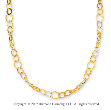 14k Yellow Gold Chiseled Multi Size Link Necklace