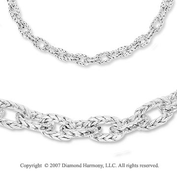 14k White Gold Carved Cable Chain Spring Ring Necklace