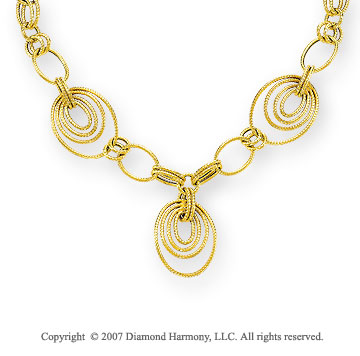 14k Yellow Gold Braided Rope Linking Loops Necklace