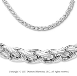 14k White Gold Carved Woven Rope Lobster Lock Necklace