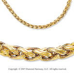 14k Yellow Gold Carved Woven Rope Lobster Lock Necklace