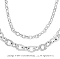 Simple Flat Ovals Cable Chain 14k White Gold Necklace