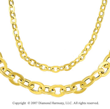Simple Flat Ovals Cable Chain 14k Yellow Gold Necklace