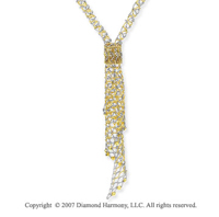 Y Shaped Beaded Lattice Swag 14k Two Tone Gold Necklace