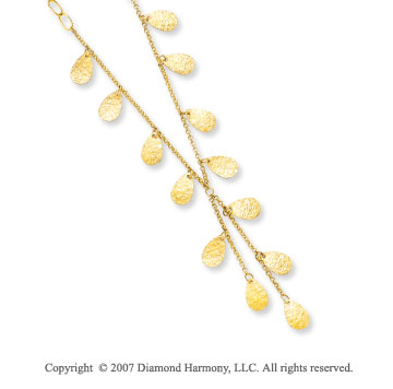 Hammered Teardrop 14k Yellow Gold Lariat Necklace