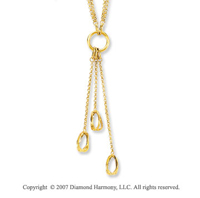 Three Twisted Ovals 14k Yellow Gold Lariat Necklace