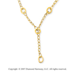 Cable Chain Oval Circle 14k Yellow Gold Lariat Necklace
