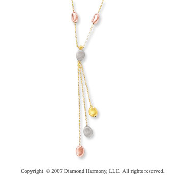 Multi Shape Pebbles 14k Tri Tone Gold Lariat Necklace