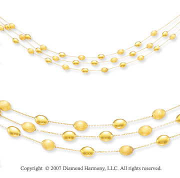 Triple Strand Pebble Delight 14k Yellow Gold Necklace
