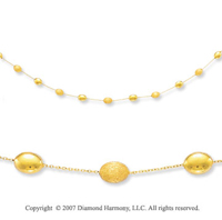Single Strand Pebble Delight 14k Yellow Gold Necklace