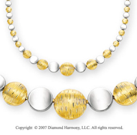 Yellow Florentine White Shiny 14k TwoTone Gold Necklace
