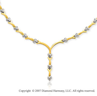 Yellow Fork White Pave Heart 14k Two Tone Gold Necklace