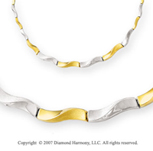 Graduated Twist Link 14k Two Tone Gold Necklace
