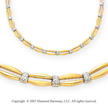 Yellow Split Oval White Pave 14k Two Tone Gold Necklace