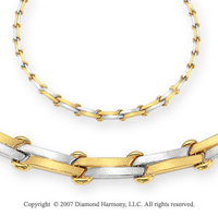 Brushed Belt Graduated 14k Two Tone Gold Necklace