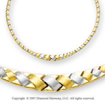 Brushed Half Weave Graduated 14k Two Tone Gold Necklace