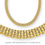 Pave Diamond Cut Threaded 14k Two Tone Gold Necklace