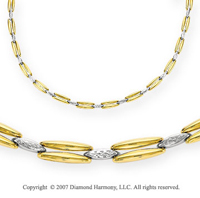 Marquise Diamond Cut Two Stem 14k TwoTone Gold Necklace