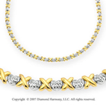 Diamond Cut Hearts XOXO 14k Two Tone Gold Necklace