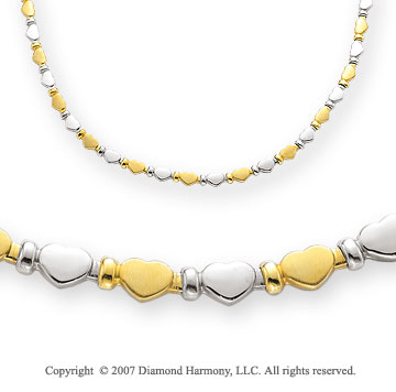 Yellow and White Hearts 14k Two Tone Gold Necklace