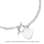5g Heart Toggle Clasp 14k White Gold Pendant Necklace
