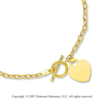 5g Heart Toggle Clasp 14k Yellow Gold Pendant Necklace