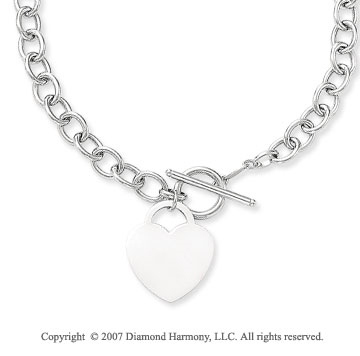 14g Heart Toggle Clasp 14k White Gold Pendant Necklace