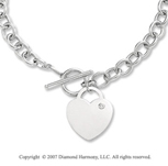 14g Diamond Heart Toggle 14k White Gold Pendant Necklace