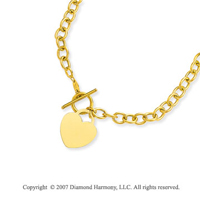 14g Heart Toggle Clasp 14k Yellow Gold Pendant Necklace