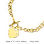 15g Diamond Heart Toggle 14k Yellow Goldold Pendant Necklace