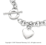 30g Heart Toggle Clasp 14k White Gold Pendant Necklace