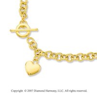 30g Heart Toggle Clasp 14k Yellow Gold Pendant Necklace