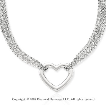 Multi Strand Mesh 14k White Gold Heart Pendant Necklace