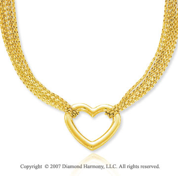 Multi Strand Mesh 14k Yellow Goldold Heart Pendant Necklace