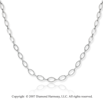 14k White Gold Classic Chain 1.45 Carat Diamond Necklace