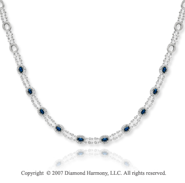 14k White Gold Prong 1.80 Carat Diamond Blue Sapphire Necklace